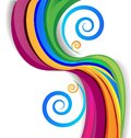 Colorful rainbow swirly over white background Royalty Free Stock Photo