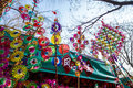 Colorful rainbow toy pinwheels on Spring Festival Temple Fair, during Chinese New Year Royalty Free Stock Photo