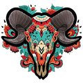 Colorful Ram Skull