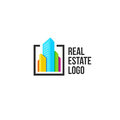 colorful real estate agency logo, house logotype on white, home concept icon, skyscrapers vector illustration. Royalty Free Stock Photo
