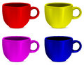 Colorful realistic blank cups vector illustration Stock Photography