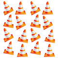 colorful realistic pattern traffic cone set Royalty Free Stock Photo