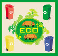 Colorful recycle bins ecology concept with landscape and garbage illustration Royalty Free Stock Photography
