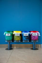 Colorful Recycle Bins in a Public place / vertical