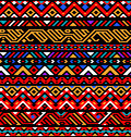 Colorful red ethnic geometric striped aztec seamless pattern, vector