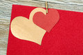 Colorful  red and gold paper heart on vintage paper Royalty Free Stock Photo