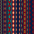 Colorful red orange blue aztec striped ornaments geometric ethnic seamless pattern Royalty Free Stock Photo