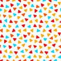 Colorful red orange yellow blue triangles hand drawn seamless pattern, vector Royalty Free Stock Photo