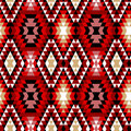 Colorful red white and black aztec ornaments geometric ethnic seamless pattern vector background Royalty Free Stock Photo