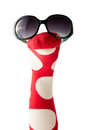 Colorful red and white polka dot sock puppet