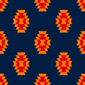 Colorful red yellow blue aztec ornament geometric ethnic seamless pattern, vector Royalty Free Stock Photo