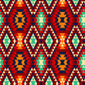 Colorful red yellow blue and black aztec ornaments geometric ethnic seamless pattern, vector Royalty Free Stock Photo