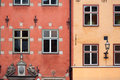 Colorful red and yellow buildings in Stockholm Stock Image