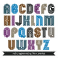 Colorful regular stripy typescript vector poster characters wit with straight lines only Royalty Free Stock Photos