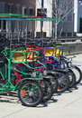 Colorful rental quad cycles in indianapolis indiana Royalty Free Stock Image