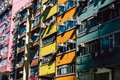 Colorful residential apartment buildings in Hong Kong Royalty Free Stock Photo