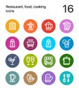 Colorful Restaurant, food, cooking icons for web and mobile design pack 2