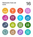 Colorful Restaurant, food icons for web and mobile