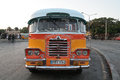 Colorful retro bus a on the streets of valleta malta Royalty Free Stock Photography