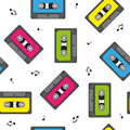 Colorful retro cassettes seamless pattern with notes