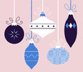 Colorful retro christmas balls collection blue xmas hanging on vector illustration Stock Image