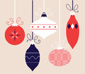 Colorful retro christmas balls collection hanging on vector illustration Royalty Free Stock Photo