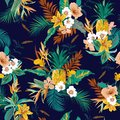 Colorful retro dark tropical forest exotic flowers bird of paradise ,hibiscus,lily , palm leaves seamless vector pattern,design