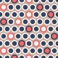 Retro Mod Vector Seamless Polka Dot Pattern in Dark Blue, Red, Cream on Beige Background. Stylish Graphic Abstratc Print