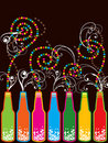 Colorful retro pop new year bottles Stock Image