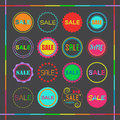 Colorful retro retail and shopping SALE tags icons set Royalty Free Stock Photo