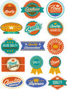 Colorful retro vintage labels, seals and crests Royalty Free Stock Images