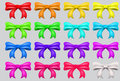 Colorful ribbon bows red pink blue gold all colors collection Royalty Free Stock Images