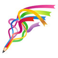 Colorful ribbon pencil  Stock Photo