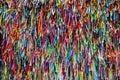 Colorful ribbons in front of Senhor do Bonfim Church in Salvador, Bahia in Brazil. Royalty Free Stock Photo