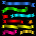 Colorful ribbons set of nine isolated on black surface Royalty Free Stock Images