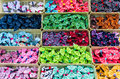 Colorful ribbons in thailand open market with various styles Royalty Free Stock Image