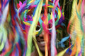 Colorful rio carnival smiling brazilian man in mask scene features with streamers Stock Photos