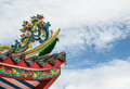 Colorful on the roof of joss house close up Royalty Free Stock Image