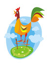 Colorful rooster side view vector illustration Royalty Free Stock Images