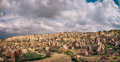 Colorful Rose valley in Cappadocia landscape with dramatic sky