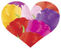 Colorful Roses in Heart Shape Outline Illustration Royalty Free Stock Photos