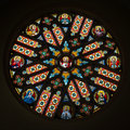 Colorful rosette in Basilica of Levoca, Slovakia