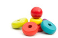 Colorful round blocks for wooden pyramid with clipping path Royalty Free Stock Photo