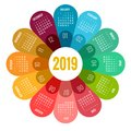 Colorful Round Calendar 2019 D...