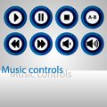 Colorful round control buttons for the player. Royalty Free Stock Photo