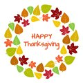 Colorful round frame and background of autumn leaves for Happy Thanksgiving. Vector