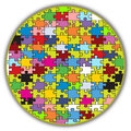 Colorful round puzzle illustration of a made to look like a peace of a bigger mosaic Stock Photo