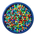 Colorful round soft gel beads in a bowl, isolated on white background Royalty Free Stock Photo