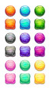 Colorful round and square cartoon buttons set. Royalty Free Stock Photo