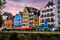 Colorful row of homes in beautiful Cologne Kohn. Germany